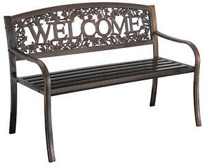 Modern Outdoor Bench Metal Welcome Design Seats 3 Black Garden Patio Porch