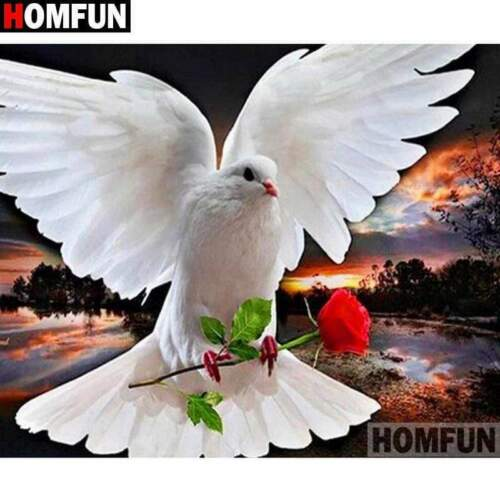 5D Diamond Painting White Dove with a Red Rose Kit