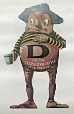 1900's Advertising Trade Card for Cordova Coffee- Die Cut Man Holding Coffee Cup