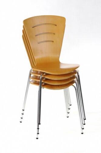4er Set Stapelstühle Buche Besucherstuhl Konferenzstuhl Küchenstuhl Stuhlset