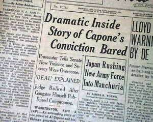 Al 'scarface' Capone Chicago Beer Baron Gangster's Downfall Told 1932 Newspaper Historical Memorabilia