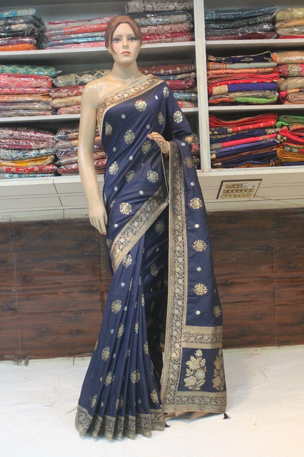 Classy Indian Ethnic Hand Woven Banarasi Silk Saree Bollywood Bridal Party Sari