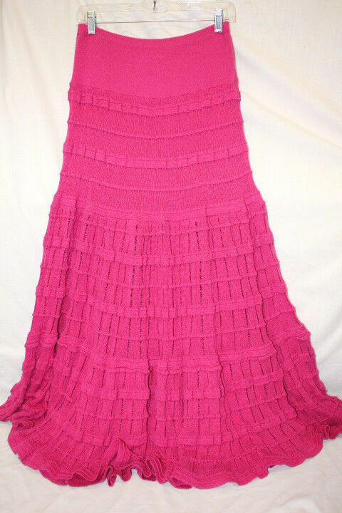 CHACOK Pink Cotton Blend Pleated Gypsy Maxi Skirt Womens Size S France-B133