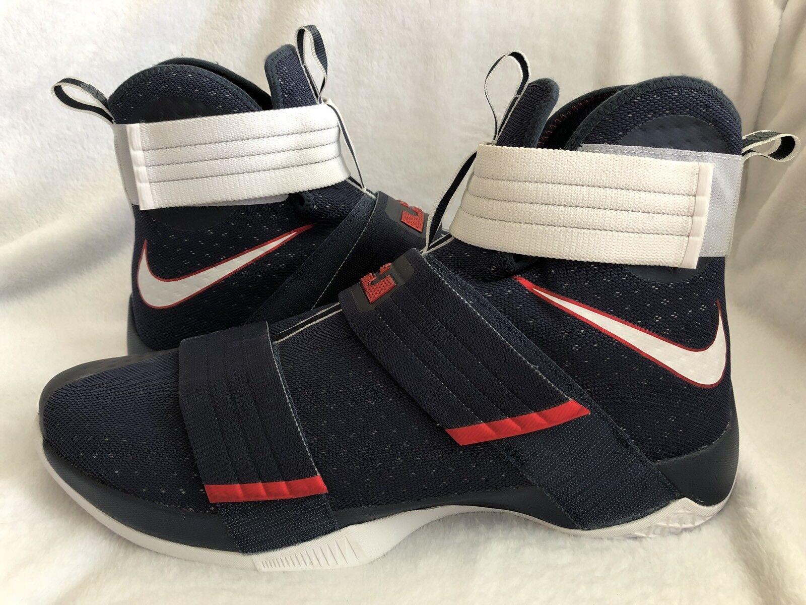 Nike LeBron Soldier X 10 SFG USA Olympics Obsidian/White 844378 416 Size 18 US