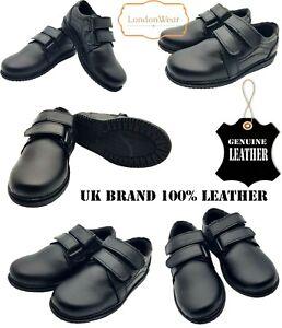 Boys-Black-School-Shoes-100-Real-Leather-Hook-Loop-Dress-Formal-Easy-On-UK-Size