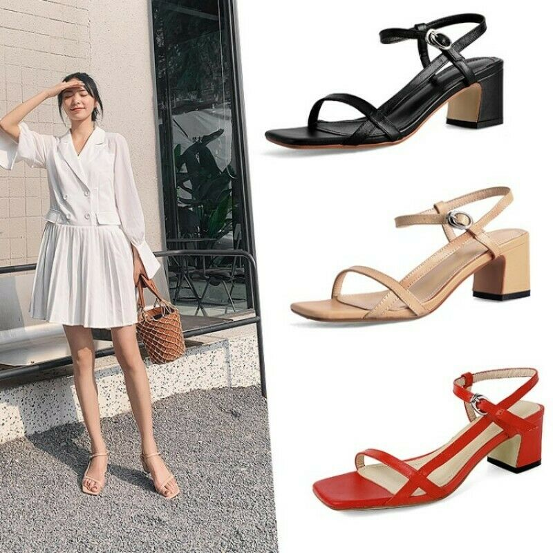 US4-12 Chunky Med Heel Ankle Strap Women Sandals shoes Open Toe Court Leather SZ
