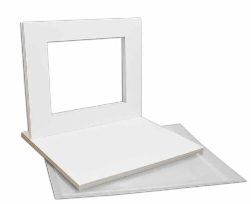 Set of 10 16x20 WHITE Mats with White Core for 11x14 +Backing +Bags