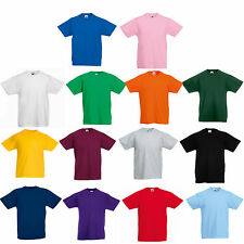 FRUIT OF THE LOOM PLAIN CHILDS BOYS GIRLS T SHIRT TEE T-SHIRT ALL SIZES - SS031