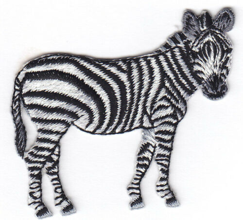 ZOO ANIMAL ZEBRA JUNGLE IRON ON EMBROIDERED PATCH WILD ANIMALS