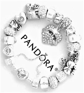 Details About Authentic Pandora Bracelet Silver My Wife The Love Of Life European Charms