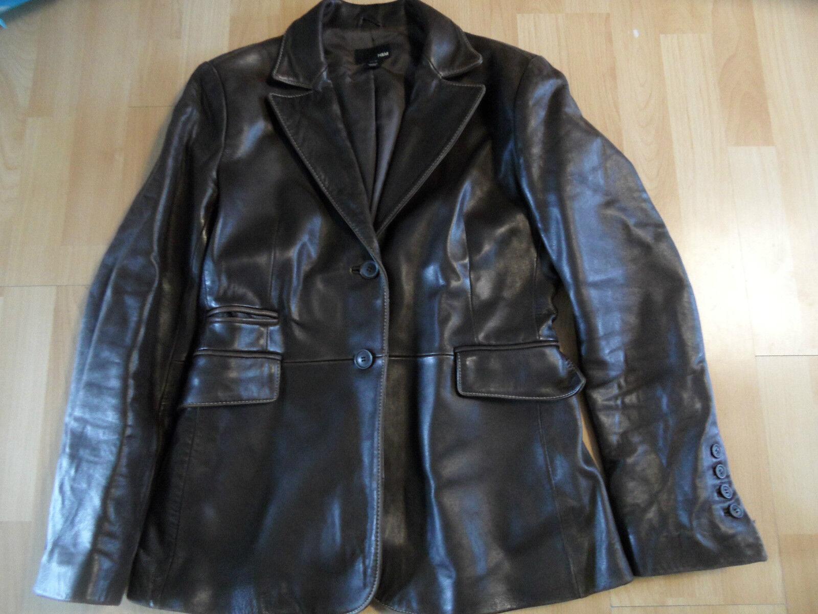 H & m stylicher Lammnappa Blazer en cuir marron taille 40 top ks216