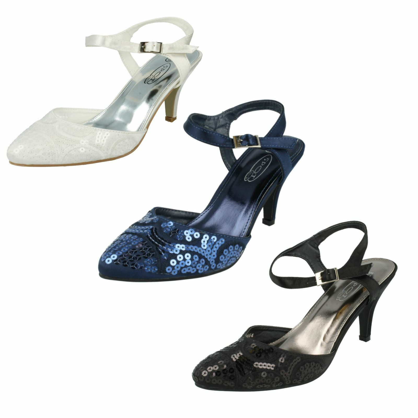 Ladies Spot On Wedding Sandals Navy,White sizes & Black style F9664 sizes Navy,White UK3- UK8 ba9a89