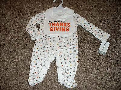 Carter's Baby Boys First Thanksgiving Sleeper Bib Set Size NB Newborn NWT NEW