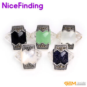 Assorted Stone Rectangle Tibetan Silver Marcasite Rings Fashion Jewelry Gift NF