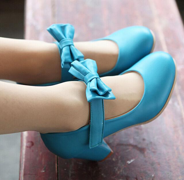 US4-11 hot womens sweet bowknot mid block pu strappy Lolita shoes Wedding Bridal