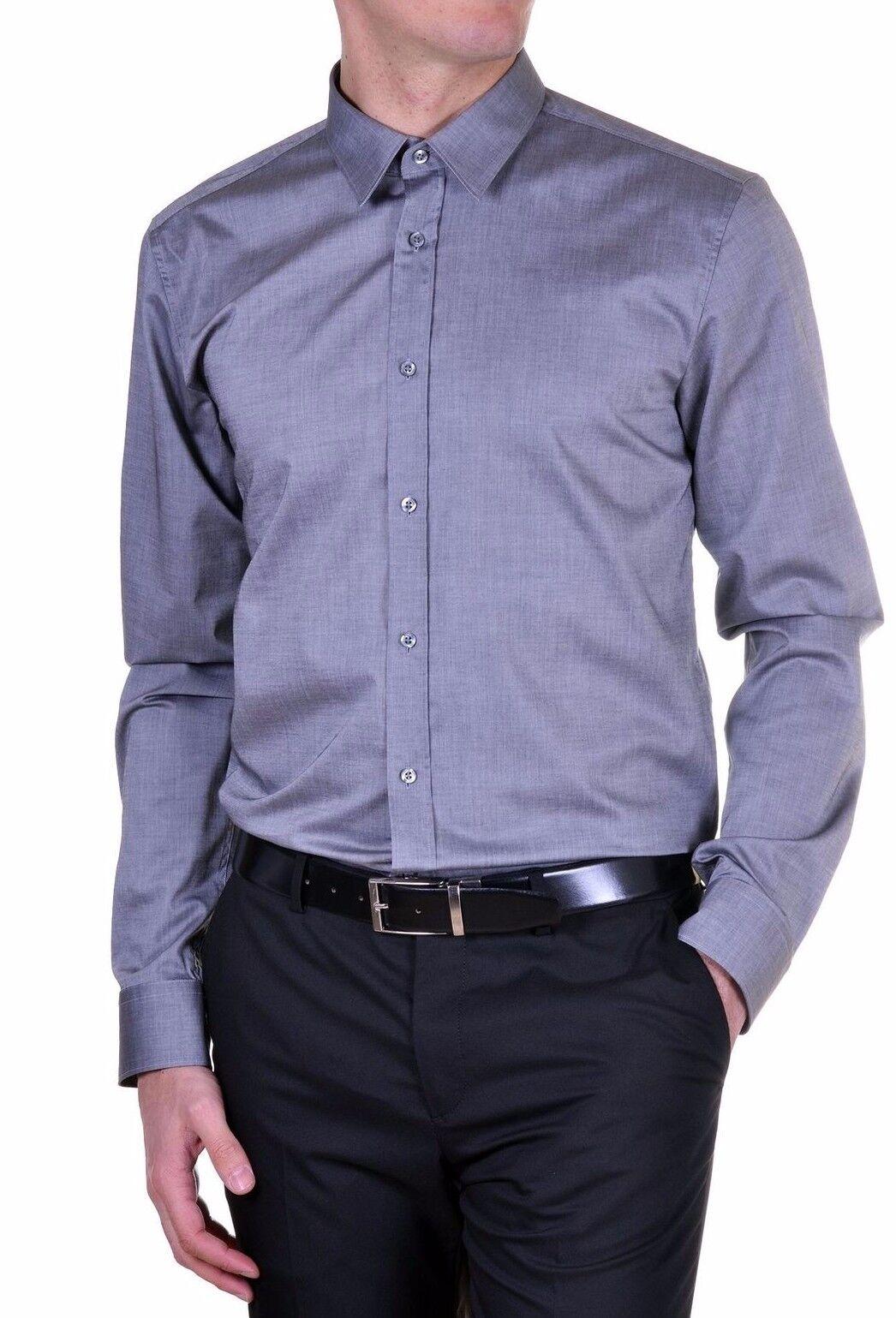 bce73faa2 Hugo Hugo Boss Red Label Men's Grey Elisha 10174539 Slim Button SK Fit  Front nbmnsq10428-Casual Shirts & Tops