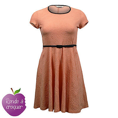 Grande taille - Robe patineuse gaufrée orange 44 46 48 50 52 54