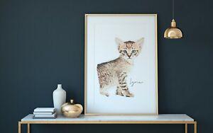 Chat-chaton-bengal-Persian-Cat-Custom-Personnalise-Imprime-Aquarelle-Artwork