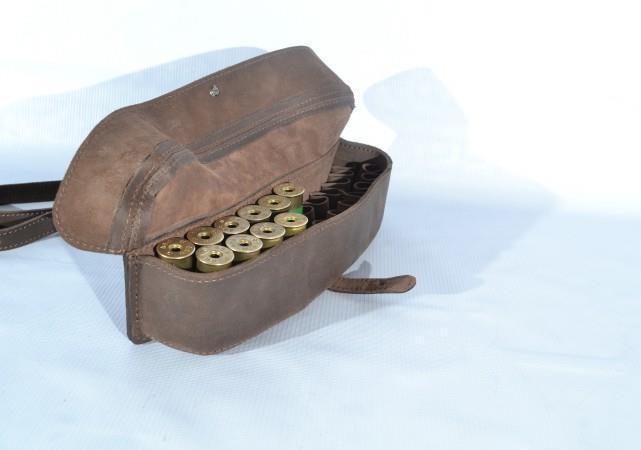 Leather Shotgun Shell Cartridge Belt Holder Pouch - Holds 24 shells 12 & 16 ga