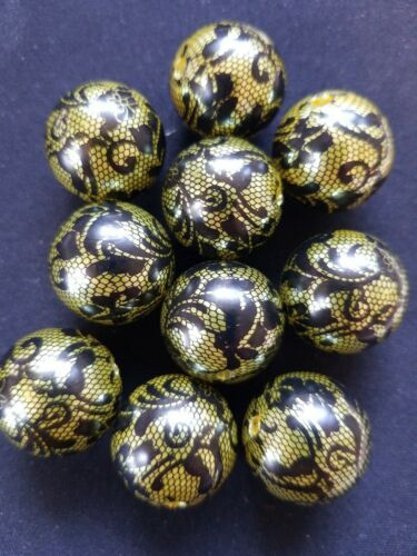 20mm Chartreuse Yellow with Black Lace Bubblegum Beads Lot of 10 USA Seller