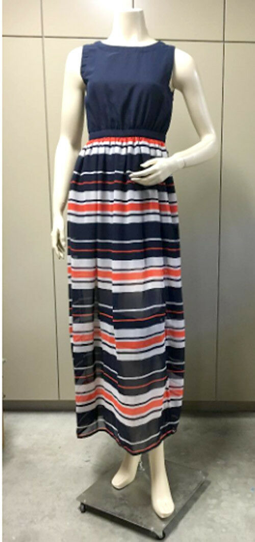 LOLA NAVY COMBO STRIPE SLEEVELES LONG MAXI DRESS NWOT M
