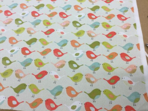 OCRE AND MULTI Cotton Print Fabric.Upholstery//Curtains//Crafts Fryetts BIRDS
