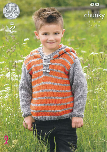 King Cole Boys Kids Big Value Chunky Knitting Pattern Striped Hoodie Gilet 4383