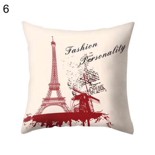 EE/_ Paris Eiffel Tower Pillow Case Soft Cushion Cover Sofa Home Decor Gift Eyefu