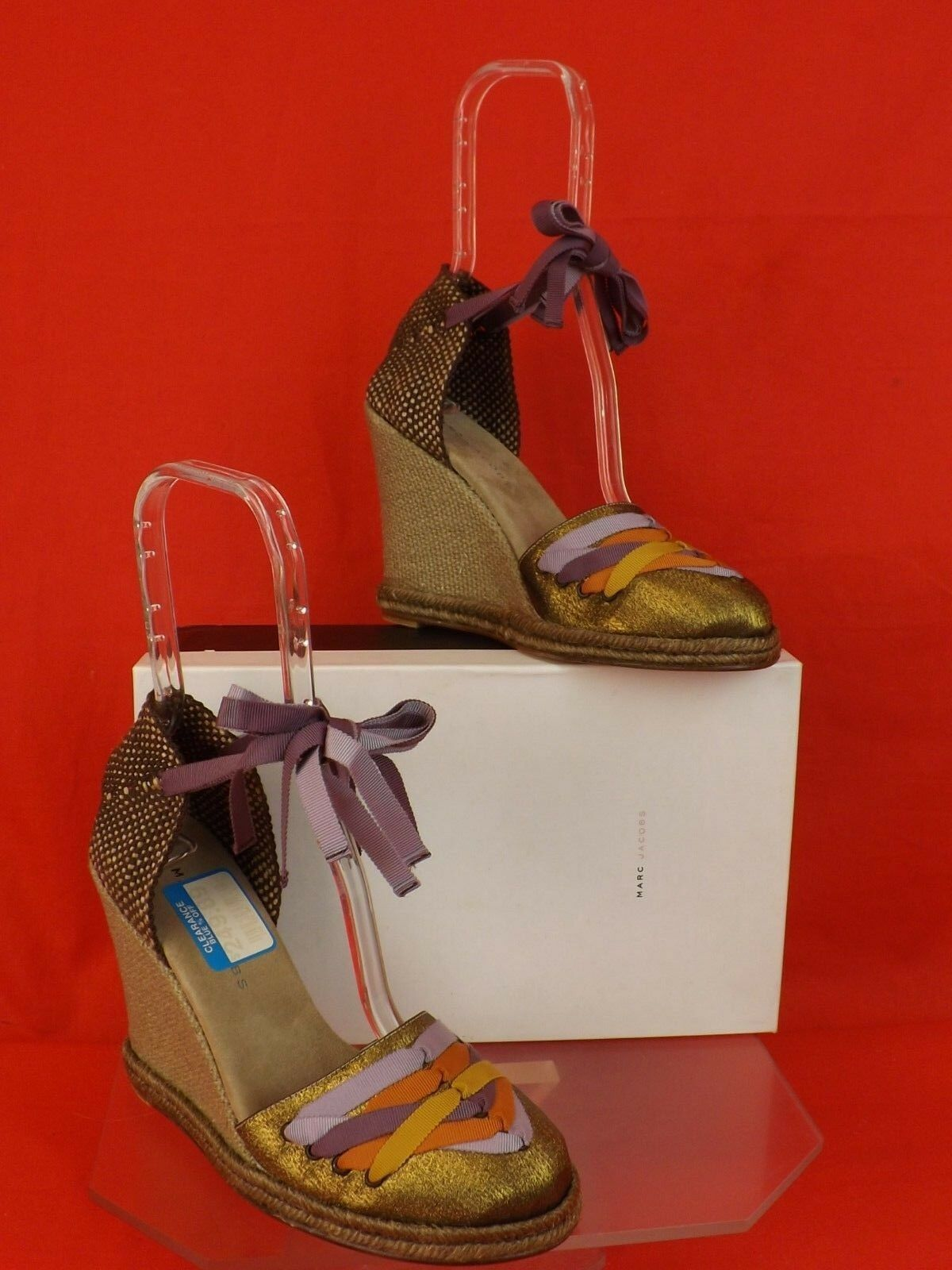 NEW MARC JACOBS MULTI-COLOR TAFFITA BRONZE TIE ROPE ROPE ROPE ESPADRILLE WEDGE SANDALS 40 5ae277