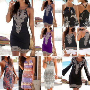 New-Women-Halter-Neck-Boho-Print-Sleeveless-Casual-Mini-Beachwear-Dress-Sundress