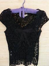Karen Millen Fitted Black Lace Top Camisole sz 6 EUC Roses Ribbon Design