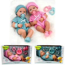 """Realistic Newborn 14"""" Baby Doll Boy or Girl Pink, Blue Outfit, Dummy Accessories"""
