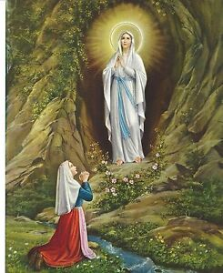 Catholic-Print-Picture-Our-Lady-of-Lourdes-w-St-Bernadette-8x10-ready-to-frame