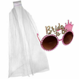 BRIDE-TO-BE-PLASTIC-GLASSES-SUNGLASSES-amp-OR-VEIL-HEN-PARTY-ACCESSORY-NOVELTY