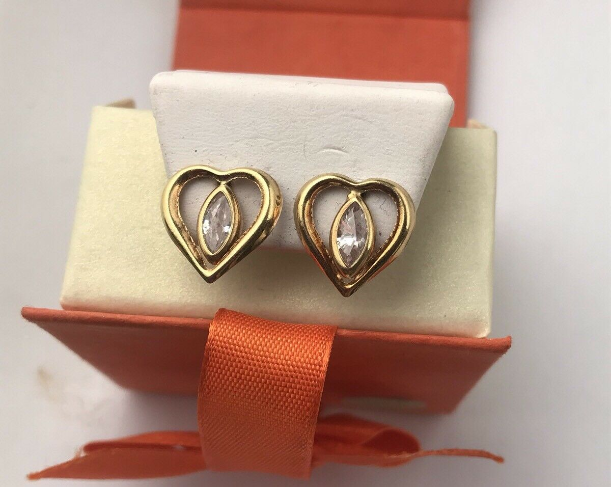 New 14k gold Heart Crystal Stunning Earrings