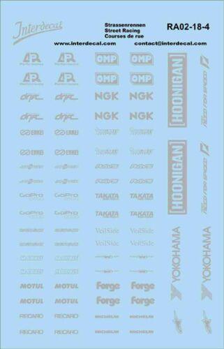 Carreras callejeras 1//18 plata patrocinador decal streetracing Drift tuning ra02-18-4