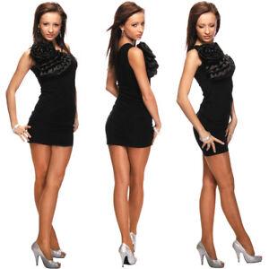 Kleid ONE-SHOULDER ETUIKLEID COCKTAILKLEID KLEID mit BLUME Schwarz