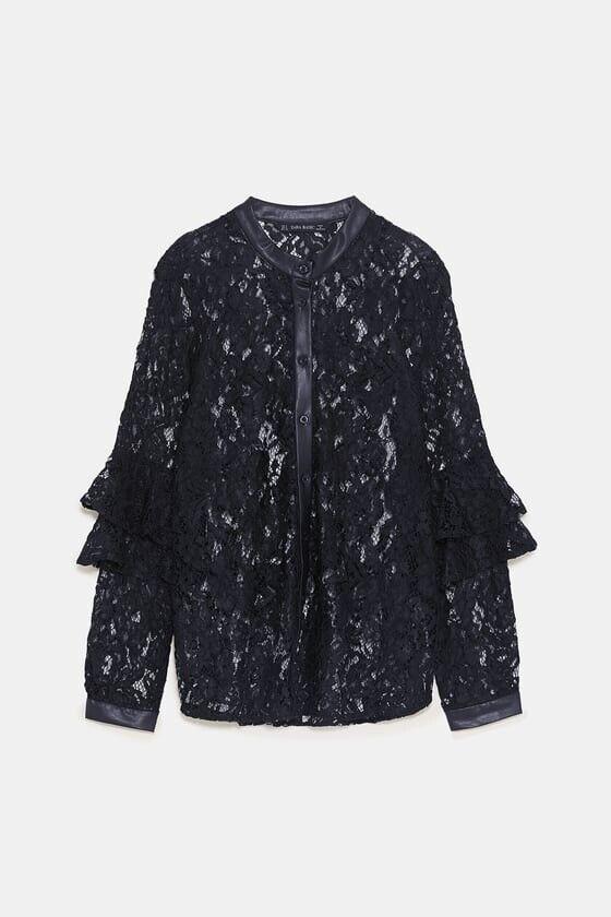 Zara Woman Contrast Faux Leather Lace Shirt schwarz XS, M Ref 7969 225 NWT