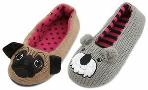 Slumberzzz-Ladies-Knitted-Cute-Animal-Character-Ballet-Slippers