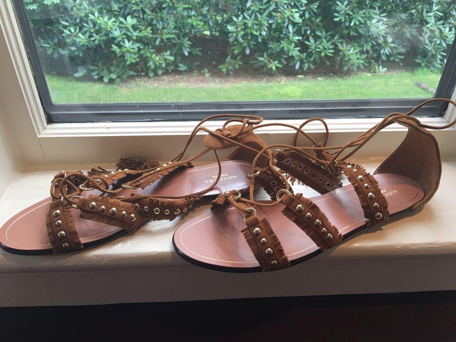 NIB Aquazzura Talum Lace-Up Sandals, As Seen on Kendall Jenner, Talla 41 11   650
