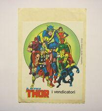 VECCHIO ADESIVO ORIGINALE /Old Sticker Vintage MITICO THOR MARVEL (cm 11 x 14) c