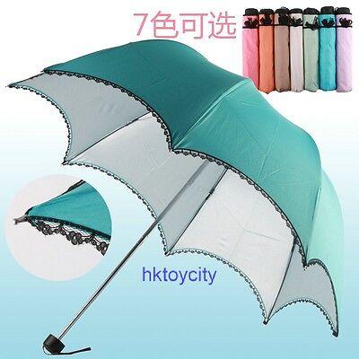 HIGH QUALITY LACE BUBBLE DOME UV COATING 3-FOLD LADY UMBRELLA W/ BAG 604090