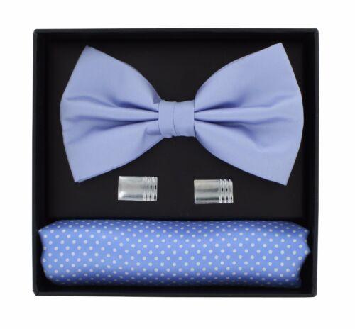 Pin Dot Pocket Square /& Cufflink Gift Set Light Blue Bow Tie