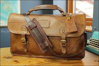 """Vtg USA 17"""" Brown Saddle Leather Messenger Briefcase Shoulder Bag German Strap"""