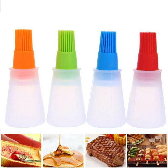 Silicone Basting Brush with Drip Stand BBQ Oil Pancake Baking Honey Bottle Brush
