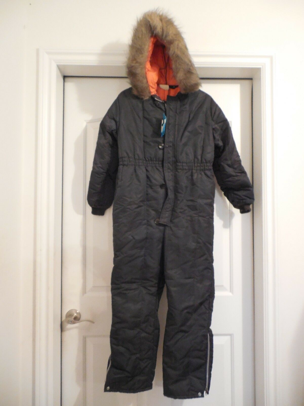 Vintage Snowsuit Snow Mobile Skiing Furry Hood Youth Sz 16 bluee orange Insulated