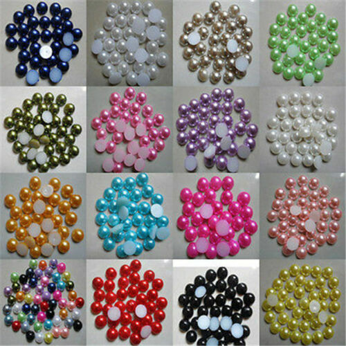 100pcs Flat Craft Pick Round Bead Half Scrapbook for Size colo Back 8-10mm Pearl
