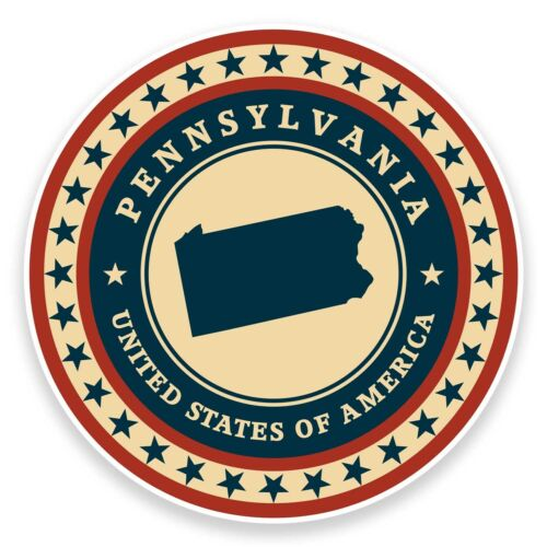 2 x 10cm Pennsylvania USA Vinyl Sticker Laptop Travel Gift Luggage Car Map #9456