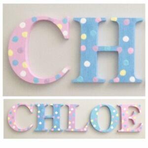 Polka Dot Hand Painted 6cm Wooden Letters for Baby Nursery//Kids Bedroom Doors $4