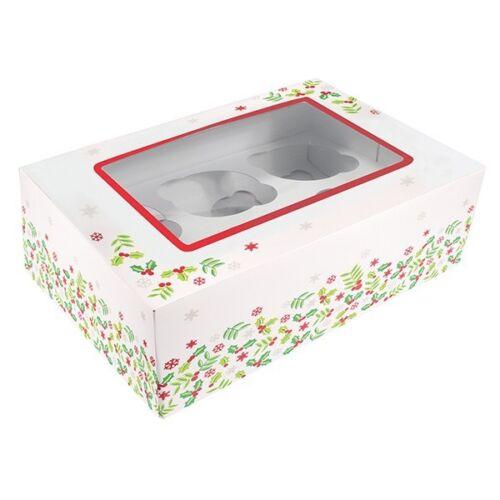 Navidad caja de la magdalena única Holly Diseño 6 o 12 Insertos de agujero